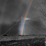 Morning rainbow over the long distance receiving antenna for planes at Ballygirreen Radio Station, Newmarket-on-Fergus.By John Power