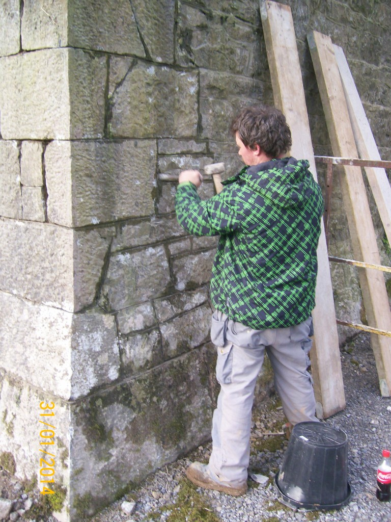 Repointing work in progress on one of the Butresses