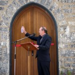 Fr Donal O'Dwyer blesses the building